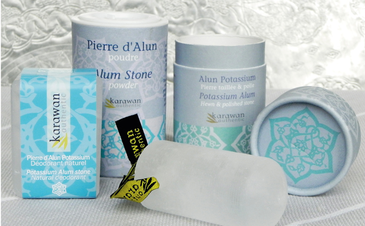 Pierre d'alun en stick poli en boîte & notice explicative certifiée COSMOS NATURAL Stick of polished alum stone in a box with instructions   COSMOS NATURAL certified